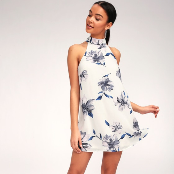 418af0e34e91 Lulu's Dresses | Darling Dearest White Floral Print Swing Dress ...